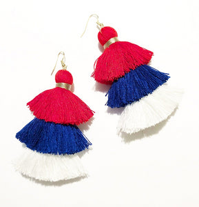 4th of July Red White and Blue Handmade Tassel Earrings