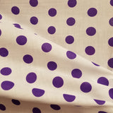 Purple on White Polka Dot Polycotton