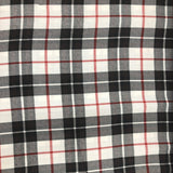 White with Black and Red Tartan
