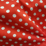 White on Red Polka Dot Polycotton