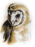Barn Owl Charcoal Drawing with Gold Spray Paint Highlights
