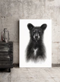 In site in the living room - Standing Black Bear Cub Charcoal Drawing