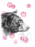 Mother Black Bear Charcoal Drawing with Pink Spray Paint Stencil Roses