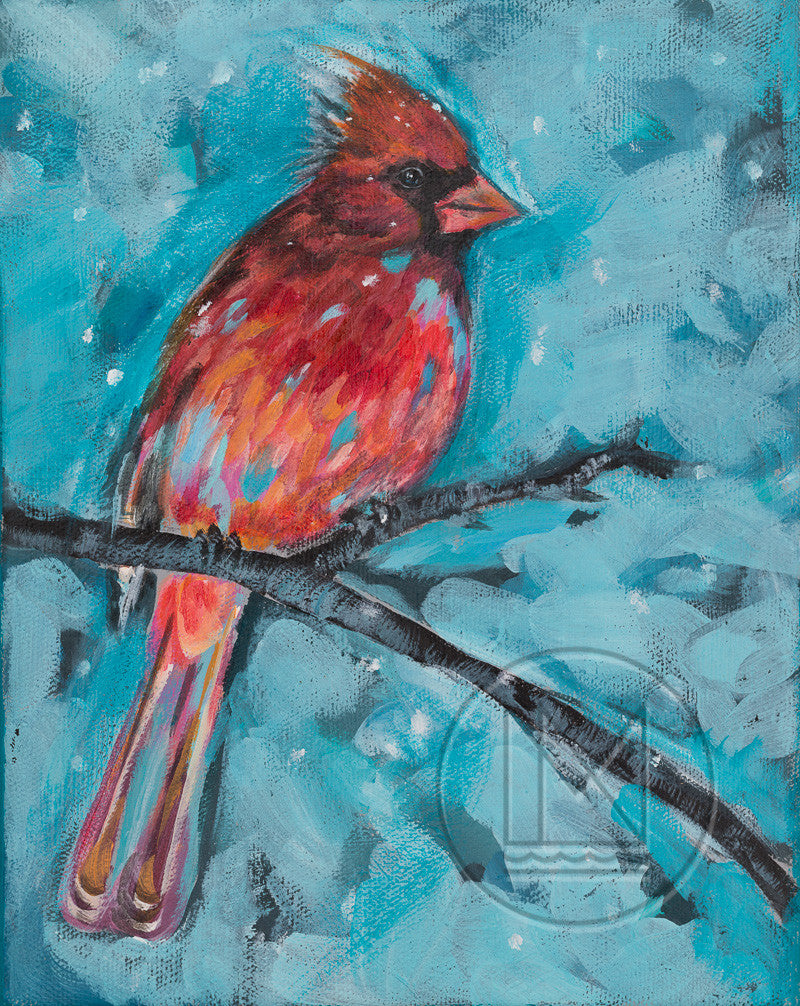 Painting of a Red Cardinal on Branch with Blue Winter Background