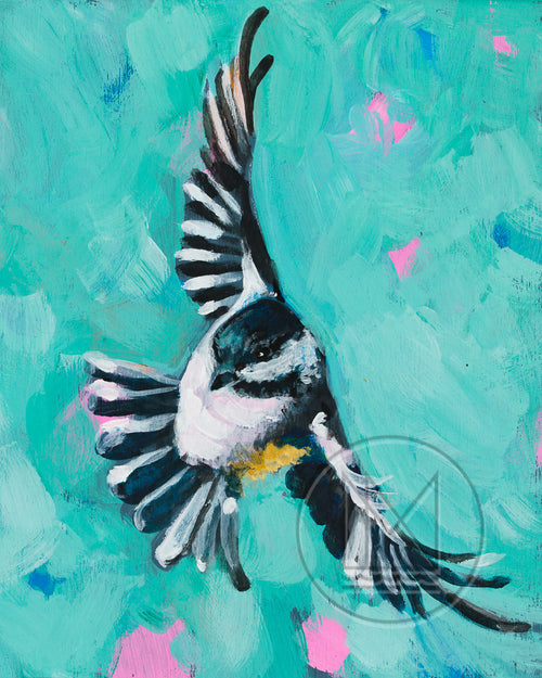 Flying Chickadee Painting