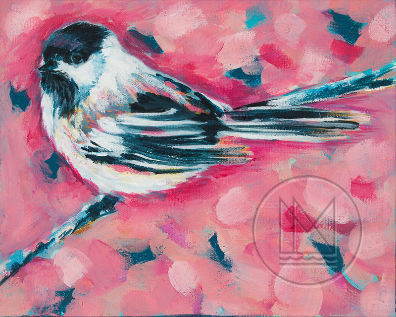 Pink Chickadee Painting