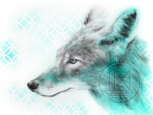 Coyote Wolf Charcoal Drawing with Turquoise Spray Paint Patterning