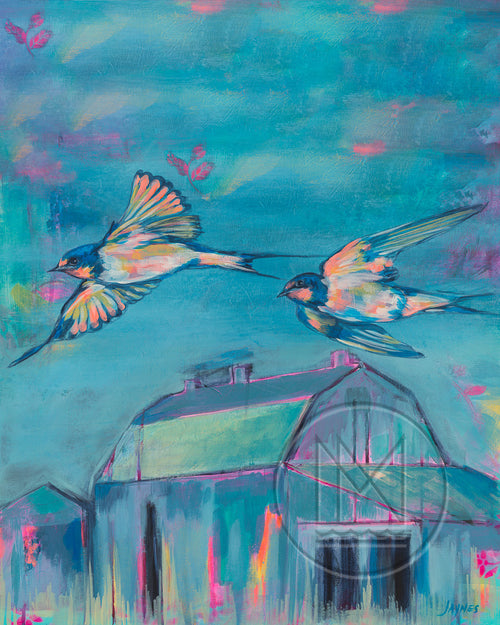 Spring Valley Sparrows Painting