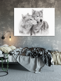 Charcoal drawing of two wolves nuzzling shown in situ