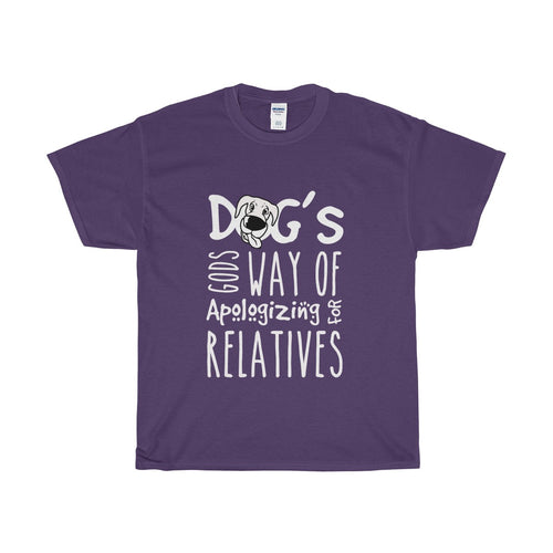 Funny Men's Purple T-shirt Dogs Gods was of apologizing For Relatives""