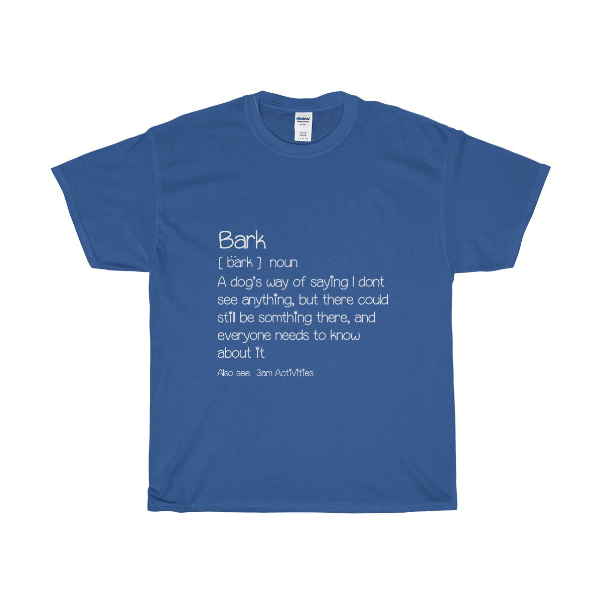 Men's Blue T-shirt with a funny definition of a bark