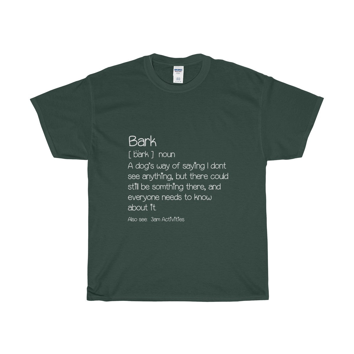 Men's Maroon T-shirt with a funny definition of a bark
