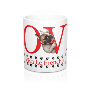 Front White coffee mug  Love Viva Le Frenchie