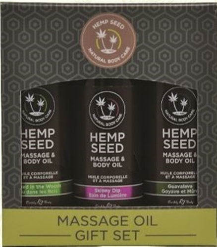 Hemp Seed Massage Oil Gift Set - 3 Pack - 2 Fl. Oz. Bottles EB-MASG003