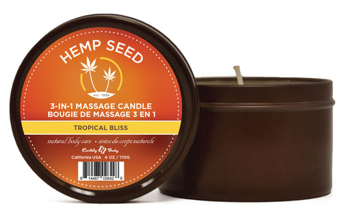 3 in 1 Massage Candle - Tropical Bliss 6 Oz - Hemp Seed EB-HSC062