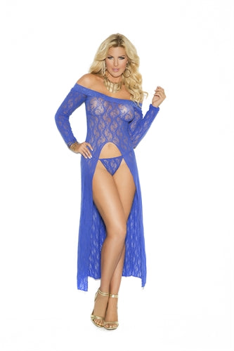 Long Sleeve Lace Gown - Queen Size - Blue EM-1519Q