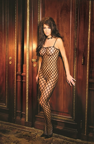 Crochet Body Stocking - Black - One Size EM-1614B