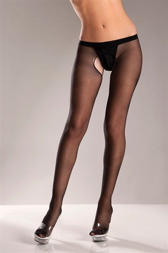 Black Crotchless Pantyhose -  One Size BW-570B