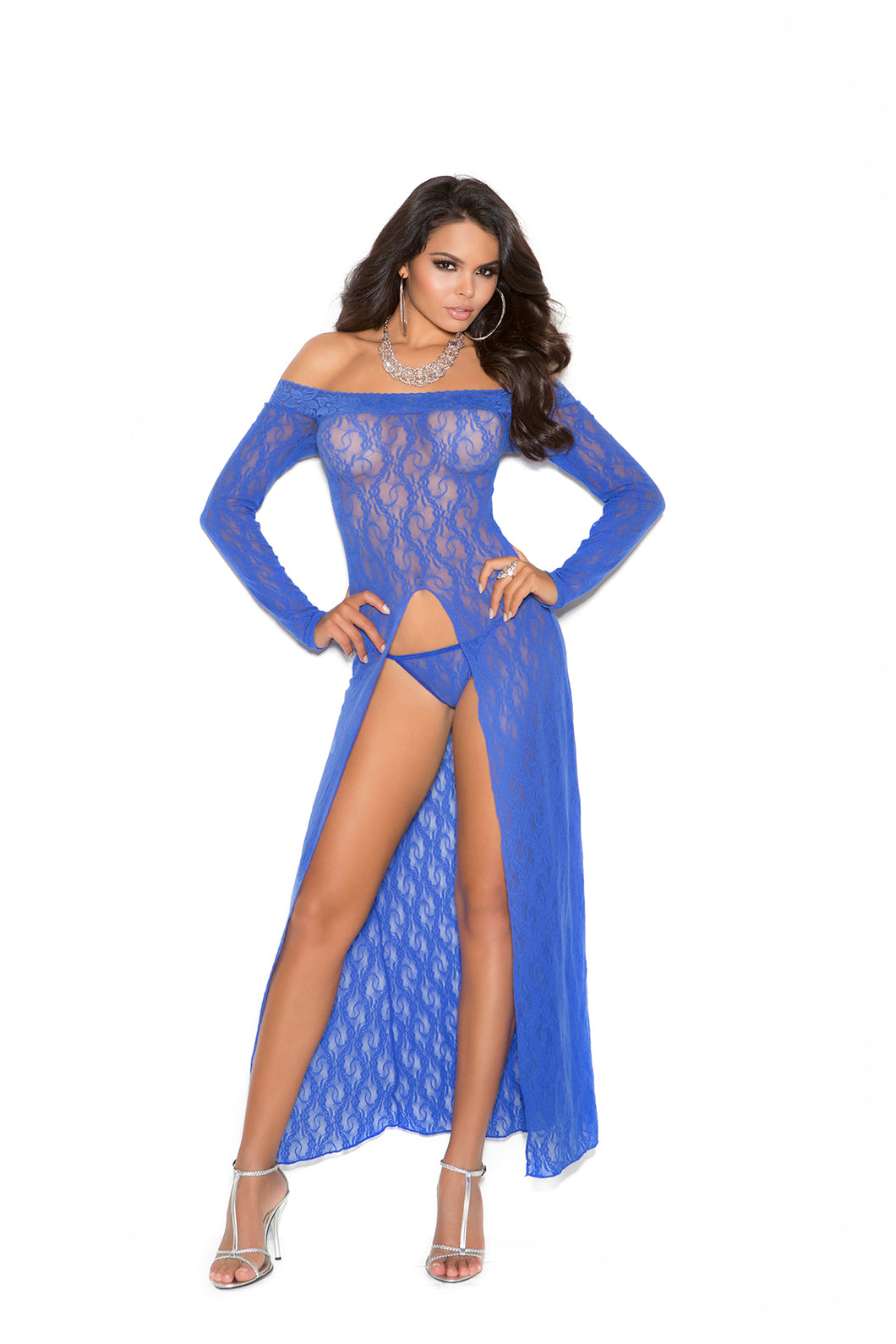 Long Sleeve Lace Gown - One Size - Blue EM-1519