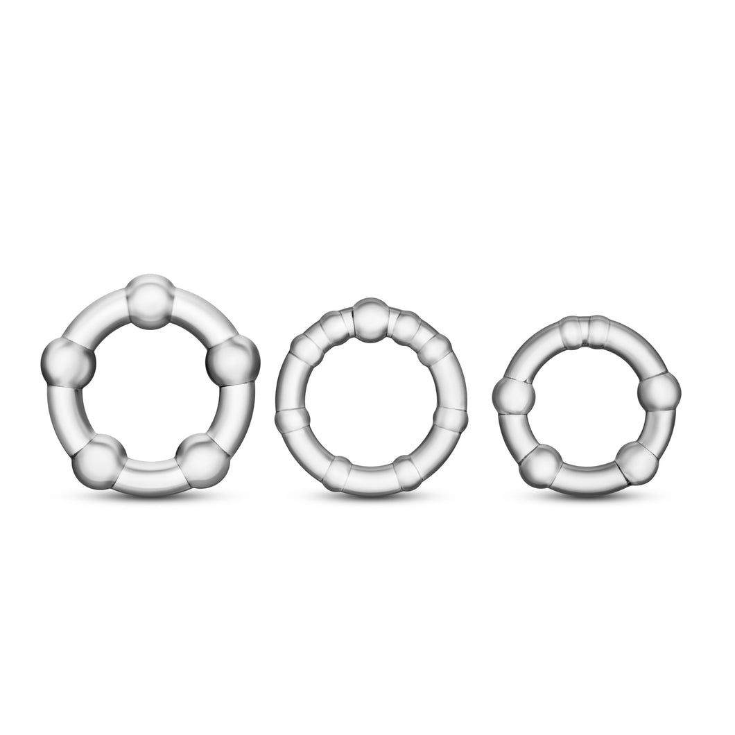 Stay Hard Beaded Cockrings - 3 Pack - Clear BL-00012