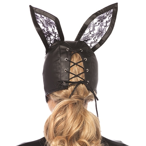 Faux Leather Bunny Mask With Lace Ears - Black LA-3745