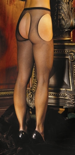 Fishnet Suspender Pantyhose - One Size - Black EM-1711B