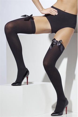 Thigh High Stockings With Bow - Black Fv-29091 FV-42752