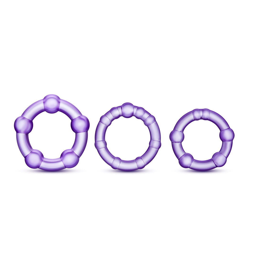 Stay Hard Beaded Cockrings - 3 Pack - Purple BL-00011