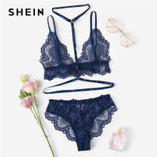 SHEIN Sexy Navy Trim Lace Unlined lingerie Set Hot Women V Neck Sleeveless Wireless Bralettes and Briefs Intimate Lingerie Sets