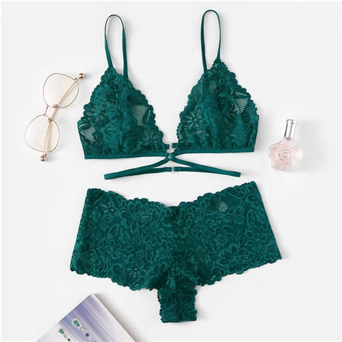 SHEIN Green Sexy Floral Lace Lingerie Set Women Summer Back Closure Wireless Bra and Briefs Solid Underwear Lingerie Sets
