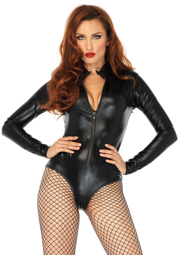 Wet Look High Neck Bodysuit - Large - Black LA-86695L
