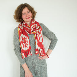 ikat cotton red scarf. gift for her scarf.