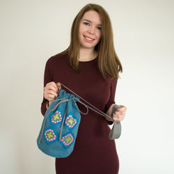 hand embroidery blue and pink bucket bag with oriental vintage patterns