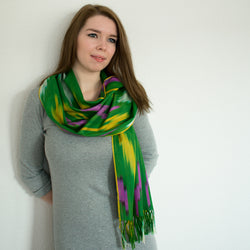 green ikat cotton silk long beautiful soft comfy fashionable handwoven scarf