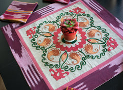 Suzani hand embroidery Ikat table runner with placemets for 6 persons