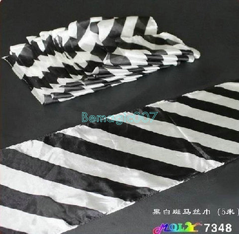 Black&White Long Silk (16x500cm) -- Silk & Cane Magic - Bemagic