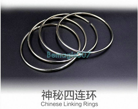 Chinese Linking Rings 4 Rings - 10 cm - (STAINLESS STEEL) -- Stage Magic - Bemagic