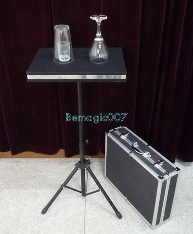 Glass Breaking And Coin into Glass Table With Carrying Case  -- Stage Magic - Bemagic