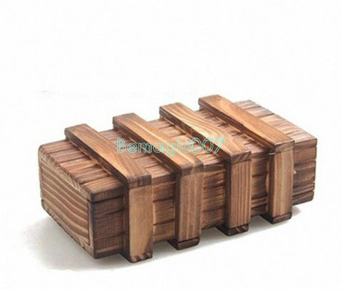 Magic Wooden Puzzle Box w 2 Secret Drawer - Close Up Magic - Bemagic