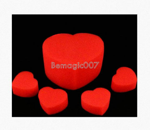 2 sets/order Multiplying Sponge Hearts To Jumbo Mystery  - Close Up Magic - Bemagic