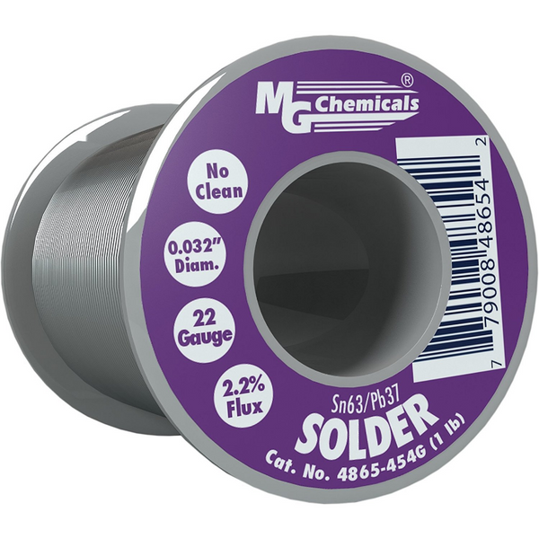"MG Chemicals 63/37 No Clean Leaded Solder, 0.032"" Diameter"
