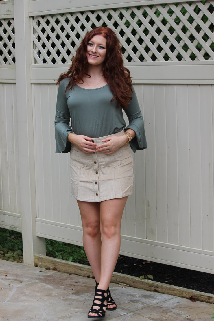 Ada Suede Skirt Tan