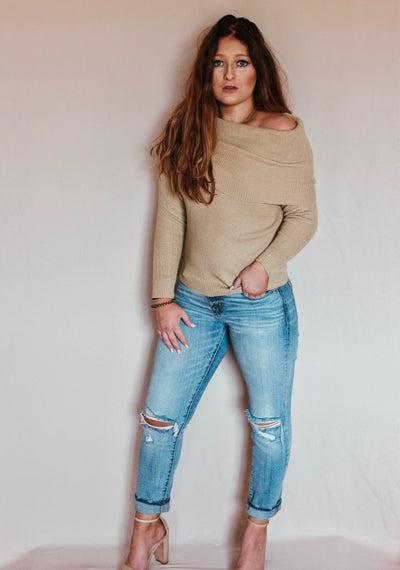 Camel Off The Shoulder Sweater