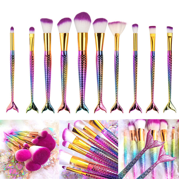 10 Piece Mermaid Tail Rainbow Brush Set