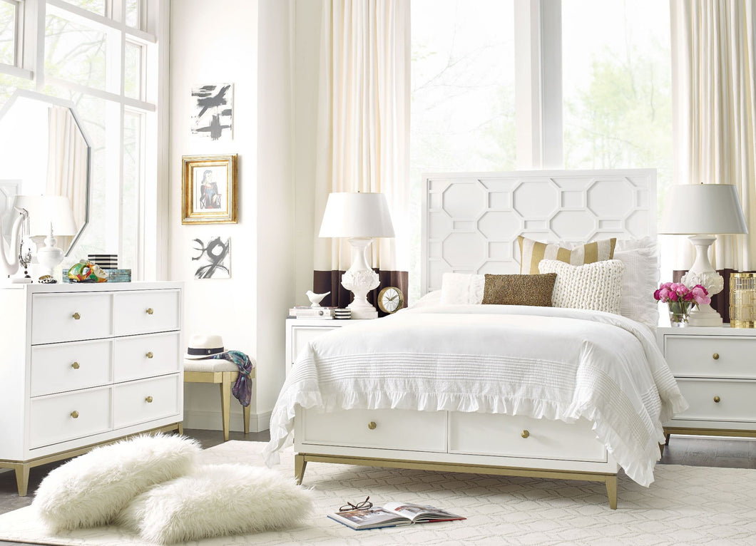 Uptown White and Gold Youth Panel Bedroom Set by Rachael Ray