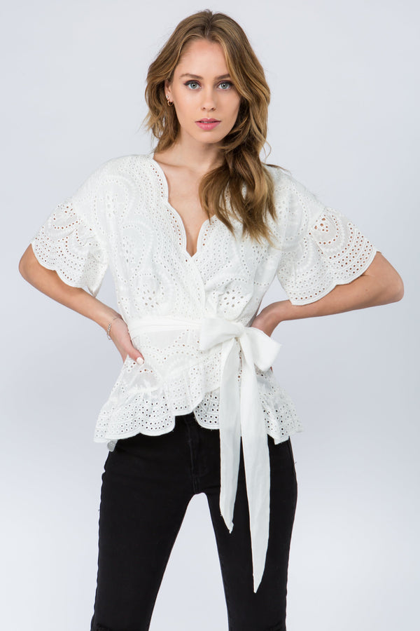 Scalloped hem white lace wrap blouse