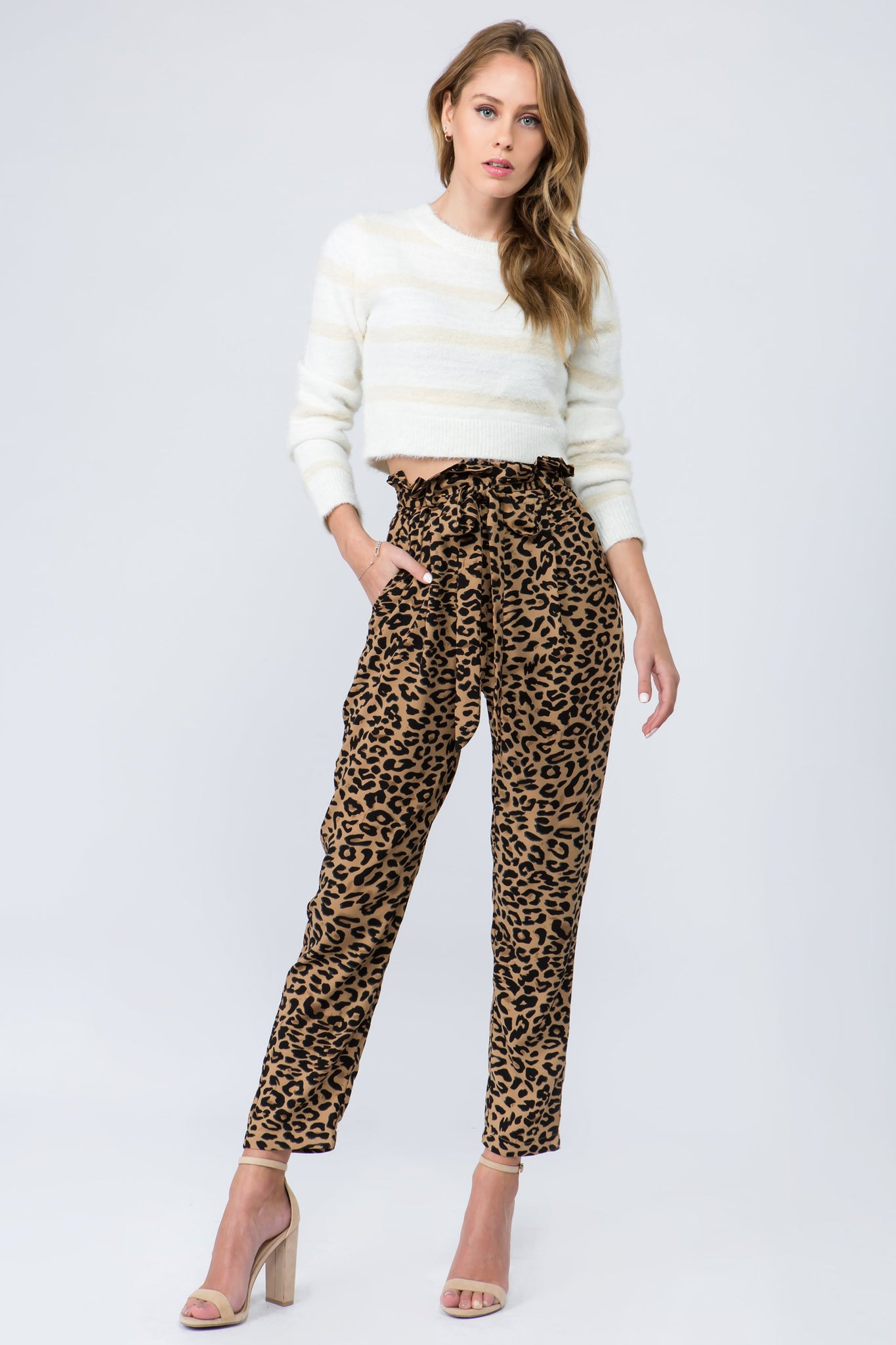 High waisted leopard print paper bag trousers