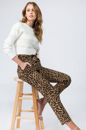 High waisted tie fron paper bag trousers with brown leopard print