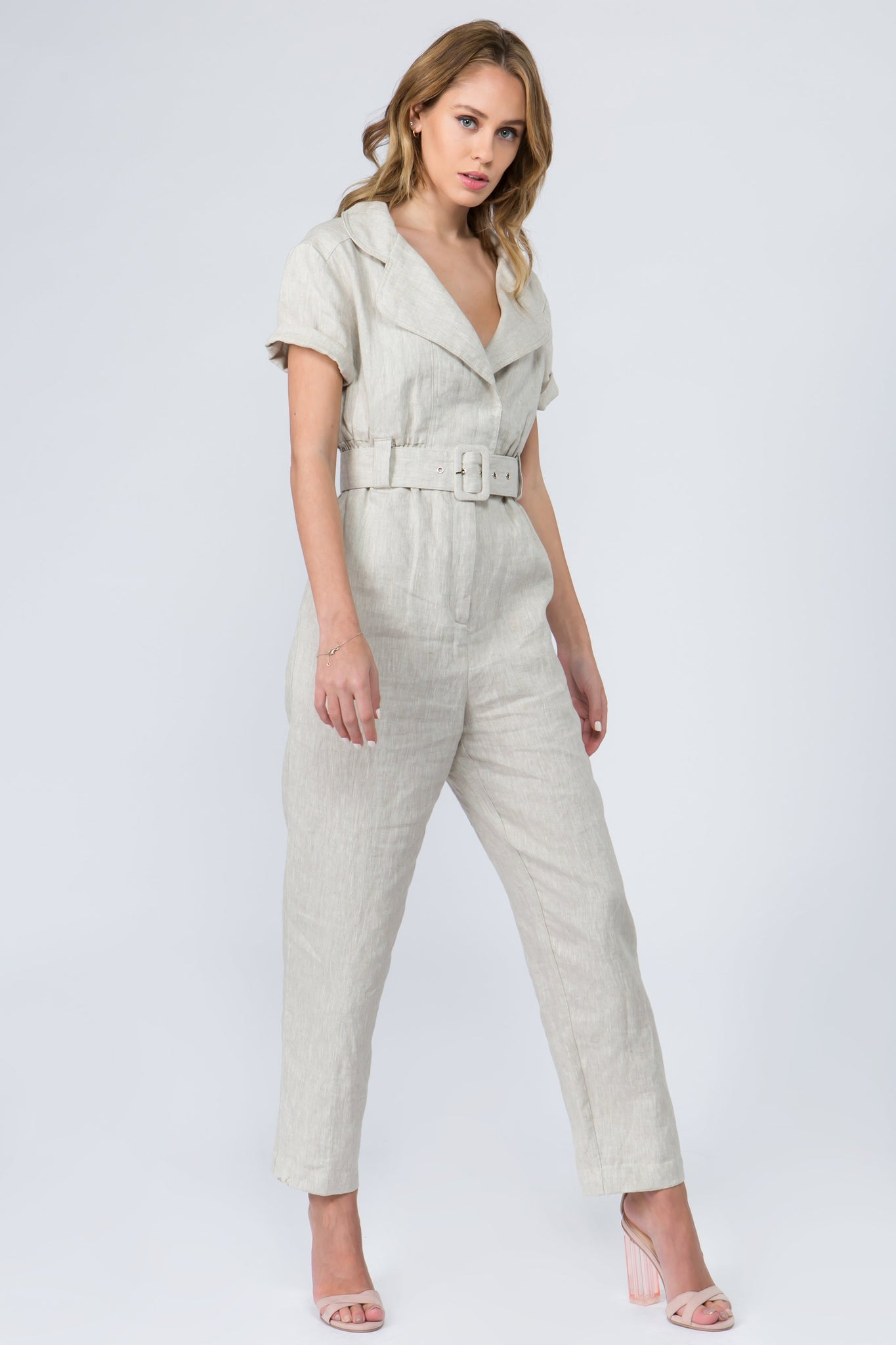 Tan long linen jumpsuit with elastic waist and belt