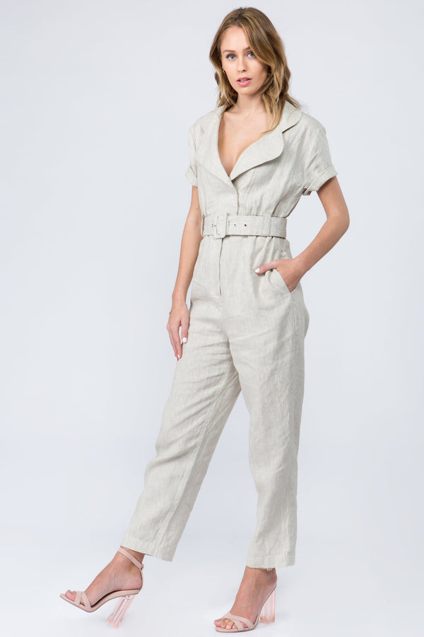 Belted cream linen jumpsuit with short sleeves